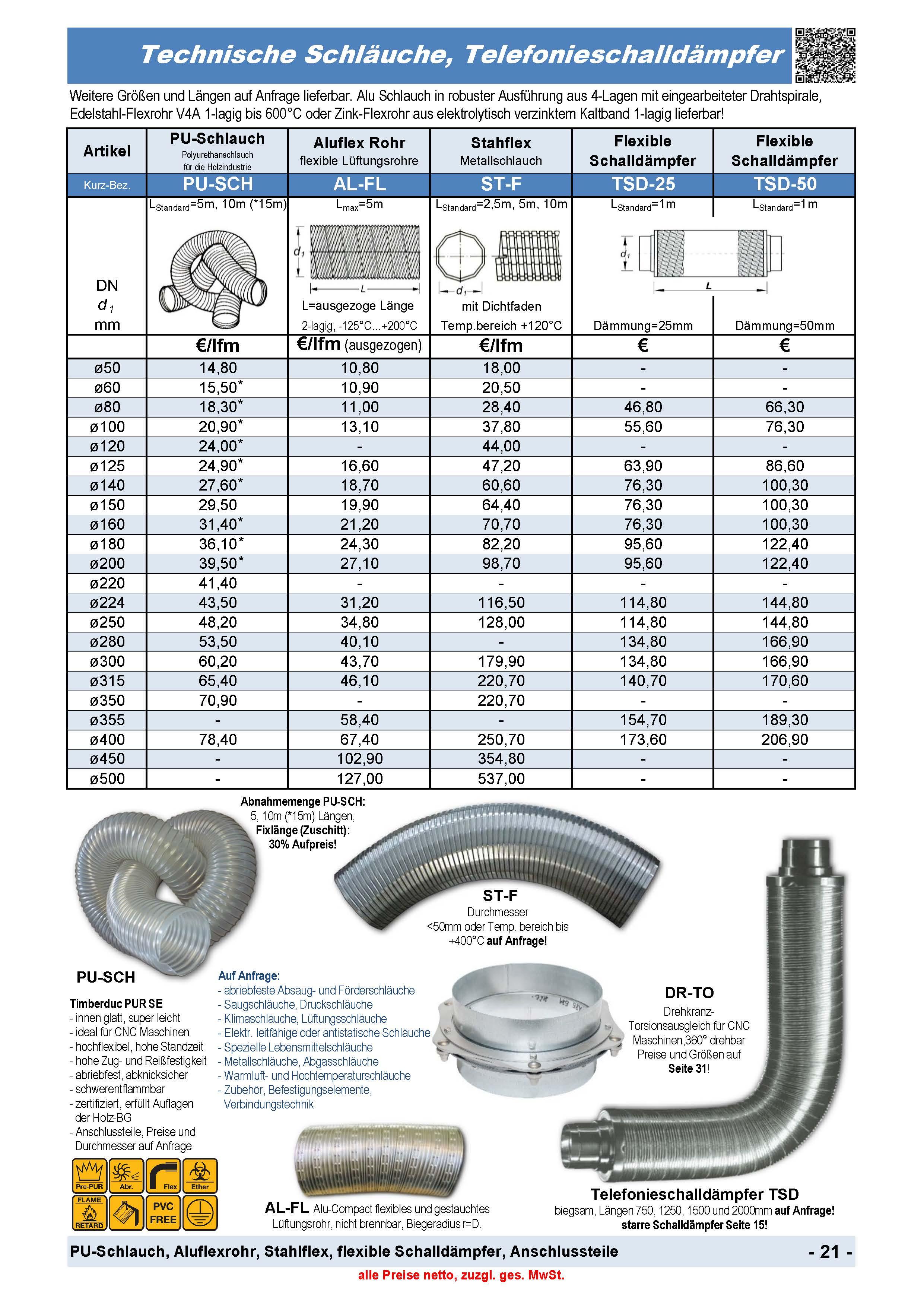 Technische Schläuche, Telefonieschalldämpfer, PU-Schlauch, Aluflexrohr, Stahlflex, flexible Schalldämpfer, Anschlussteile