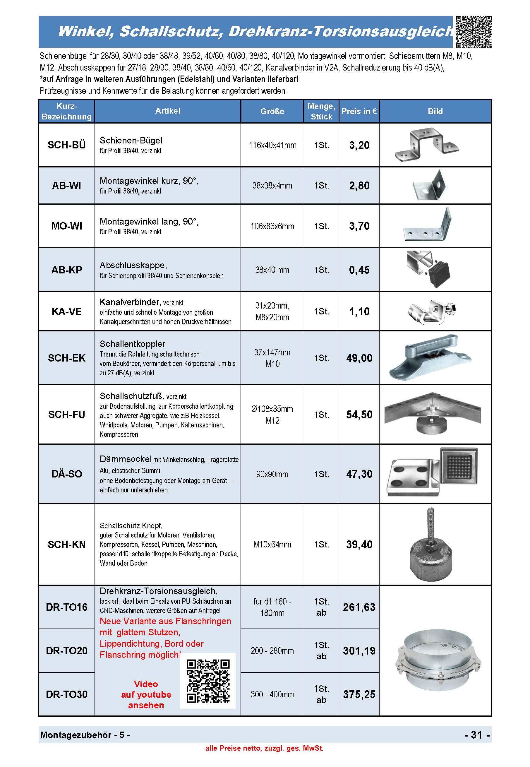 Schienen-Bügel, Montagewinkel , Kanalverbinder, Schallschutz Fuß, Dämmsockel, Schallschutz Knopf, Drehkranz-Torsionsausgleich