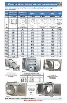 Absperrschieber manuell, elektrisch oder pneumatisch, Hand-, Pneumatik-, Elektro-, Kettenabsperrschieber