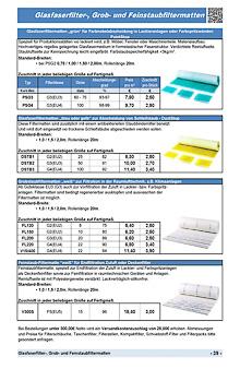 Glasfaserfilter, Grob und Feinstaubfiltermatten
