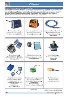 Sensoren zur Überwachung von Temperatur, Feuer, Funken, Reststaub, Druck, Füllstand sowie Maschinenerkennungssensoren