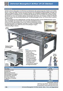 Universal Absaugtisch Airfiner UV-25 (fahrbar)