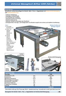 Universal Absaugtisch Airfiner S250 (fahrbar)
