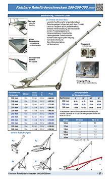 Fahrbare Rohrförderschnecken 200-250-300mm